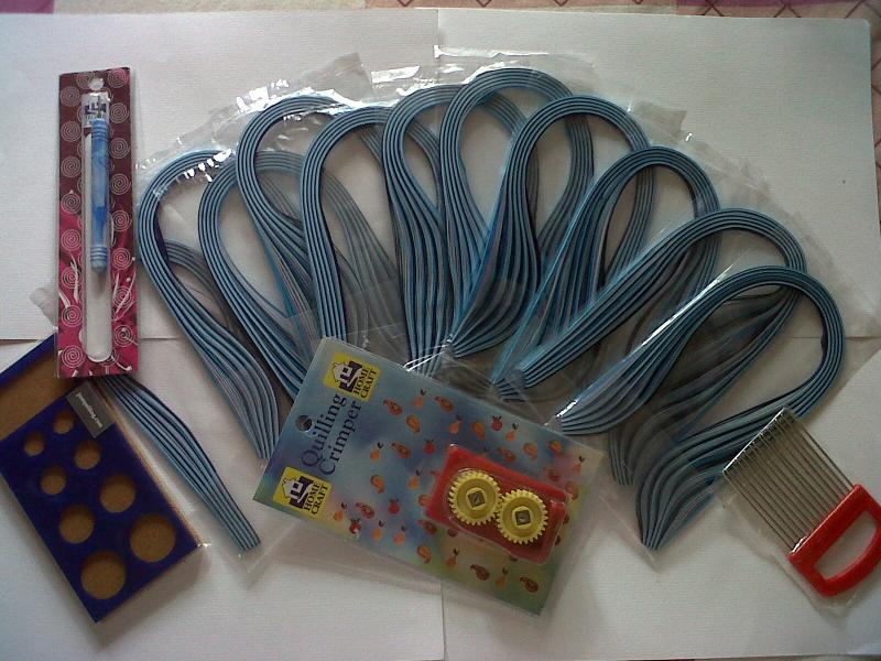 Quilling Paper shades of blue  ,crimp,Quilling comb,Quilling board & tool